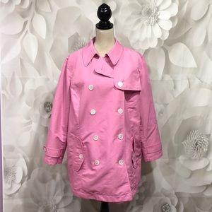 Ralph Lauren Pink Double Breasted Trench Coat 1X
